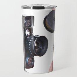Retro mechanical hobbies movie camera and film in hands Travel Mug
