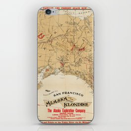 Map of Alaska 1898 iPhone Skin