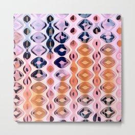 Vertical Diamonds Pink Tangerine Metal Print