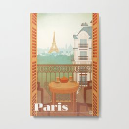Paris, France - Travel Poster Metal Print