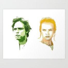 Luke Skywalker and Rey Art Print