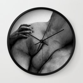 Florence, Italy Marble Sculpture The Kidnapping of the Sabine Women by Giambologna black and white photograph Wall Clock