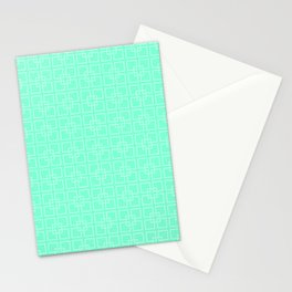 Aquamarine and White Interlocking Square Pattern Stationery Cards