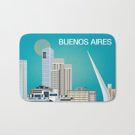 Buenos Aires, Argentina - Skyline Illustration by Loose Petals Bath Mat