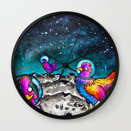 Space Chickens Wall Clock