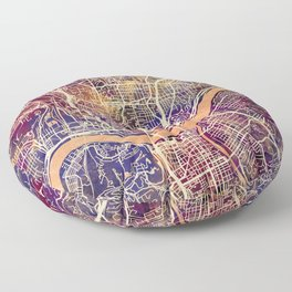 Cincinnati Ohio City Map Floor Pillow
