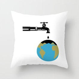 Faucet Dripping Water on Globe Retro Throw Pillow