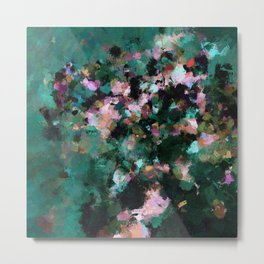 Contemporary Abstract Wall Art in Green / Teal Color Metal Print