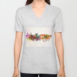 Baton Rouge skyline in watercolor background Unisex V-Neck