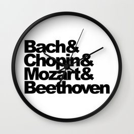 Bach and Chopin and Mozart and Beethoven, sticker, circle, white Wall Clock