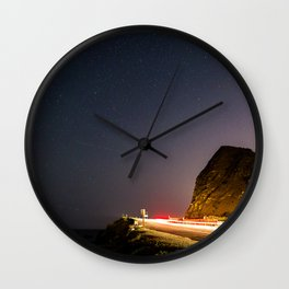 Night Landscape of a road next to a beach at Point Magu, CA. Wall Clock