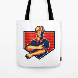 Construction Worker Rolling Up Sleeve Retro Tote Bag