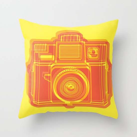 I Still Shoot Film Holga Logo - Yellow & Red Throw Pillow