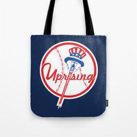 yankees Tote Bags featuring the NY uprising by Jacekeller