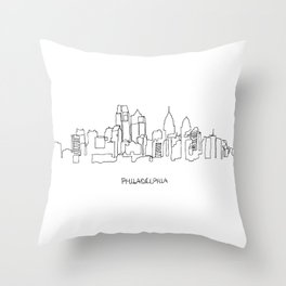 Philadelphia Skyline Drawing Throw Pillow
