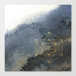 Sacred Geometry Indigo Blue & Gold Watercolor Canvas Print
