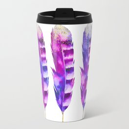 Pink Feathers watercolor painting Travel Mug