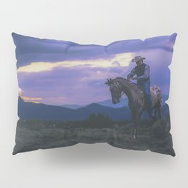 Santa Fe Cowboy on Horse With Teepee Pillow Sham