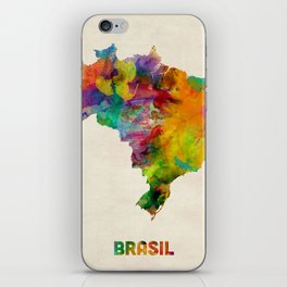 Brazil Watercolor Map iPhone Skin