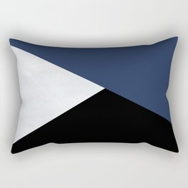 Colour Block Marble Blue Rectangular Pillow
