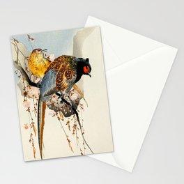 Pheasants on tree - Vintage Japanese woodblock print Art Stationery Cards