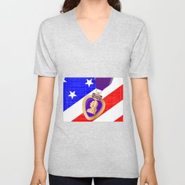 Flag and Purple Heart Unisex V-Neck