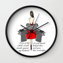 Woman with guns Wall Clock