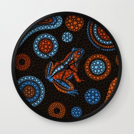Aboriginal Dot Art Frog Color Wall Clock