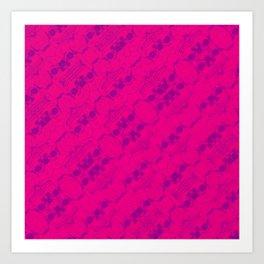 Hipster Purple Skulls Pattern Vector Neon Pink Art Print