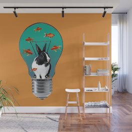 Bulb with rabbit and goldfishes - orange illustration Wall Mural