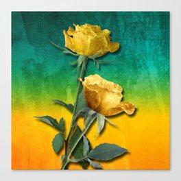Gold Roses & Vibrant Watercolor Canvas Print