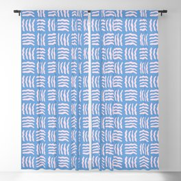 Pink Woven Wiggles on Blue Blackout Curtain