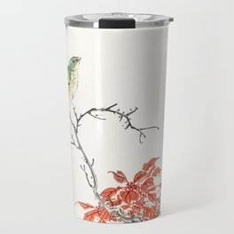 Japanese Yellow Bunting and Chinese Amaranth illustration from Pictorial Monograph of Birds (1885) b Travel Mug