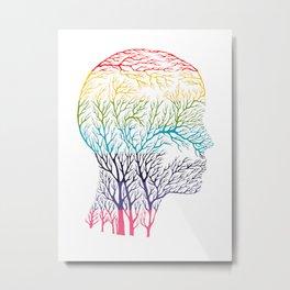 Head Profile Branches - Rainbow Metal Print
