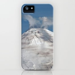 Top view of volcanic cone, fumaroles activity, steam and gas eruption from volcano crater iPhone Case