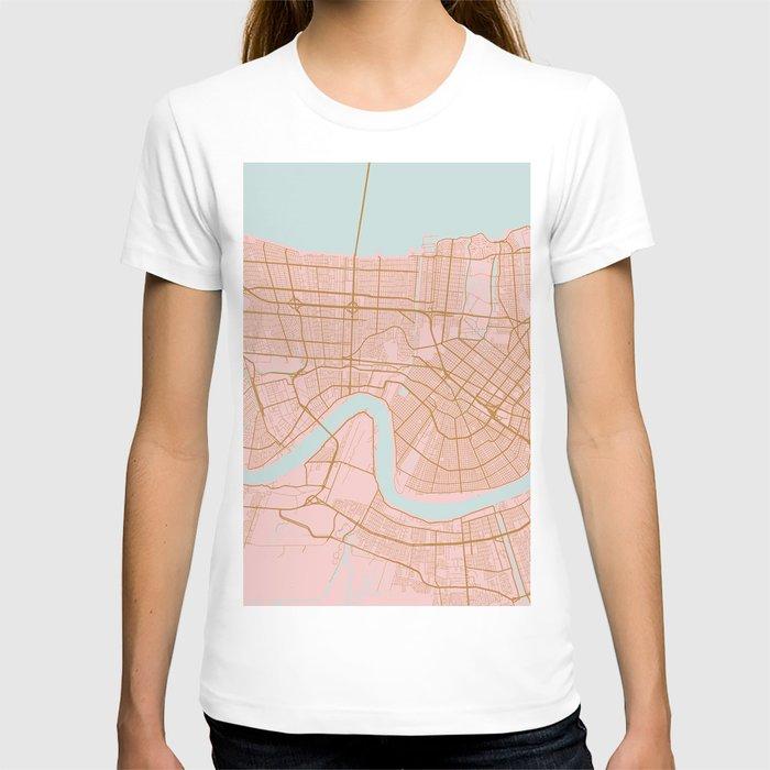 New Orleans map, Lousiana T-shirt