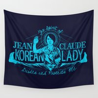 korean Wall Tapestries featuring Jean Claude Korean Lady by Emily Doyle