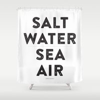 salt water Shower Curtains featuring Salt Water Sea Air - Ever So Lovely® by Ever So Lovely® Inc.