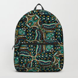 Bohemian Folkart Floral - Indigo, Turquoise & Burnt Red Flower Pattern with Folky Feel Backpack