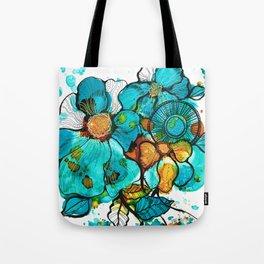 Aqua Bouquet Tote Bag