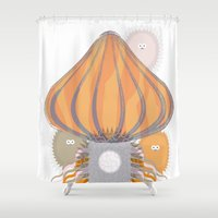medusa Shower Curtains featuring Medusa by DRAKOSHA