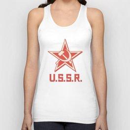 star, crossed hammer and sickle - ussr poster (socialism propaganda) Unisex Tank Top