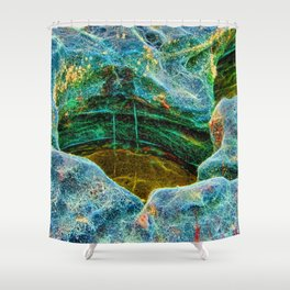 Abstract rocks with barnacles and rock pool Shower Curtain
