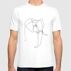 Elephant line White Mens Fitted Tee MEDIUM