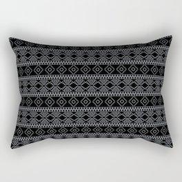 Black and White Geometric Aztec Tribal Pattern Rectangular Pillow