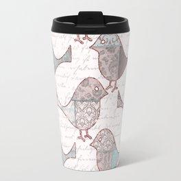 Vintage  Patchwork Birds handwriting pastel pattern Travel Mug
