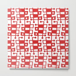 Mid Century Modern Abstract 213 Red Metal Print