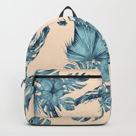 Island Retreat Hibiscus Palm Pastel Coral Teal Blue Backpack