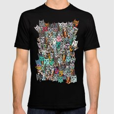 Gemstone Cats LARGE Mens Fitted Tee Black