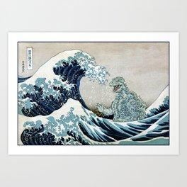 Godzilla Off Kanagawa Art Print